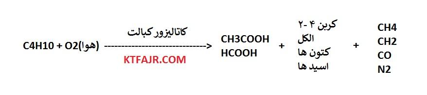 فرمول تولید استیک اسید از بوتان به وسیله اکسیداسیون فاز مایع